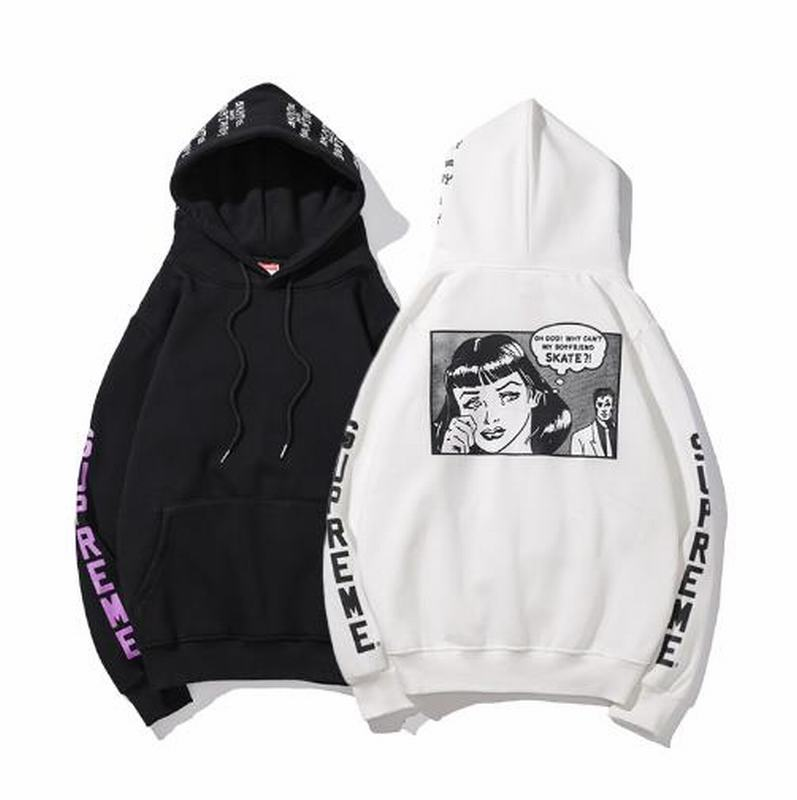 Supreme 2 colors white black hoodie cartoon logo back