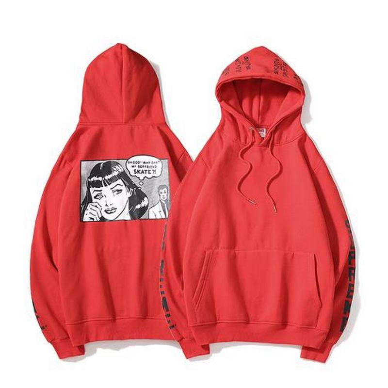 Supreme red hoodie cartoon logo back