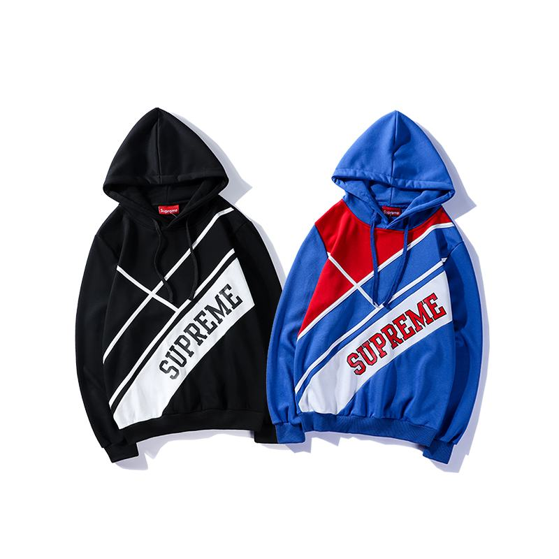 supreme 2 colors black blue hoodie big logo