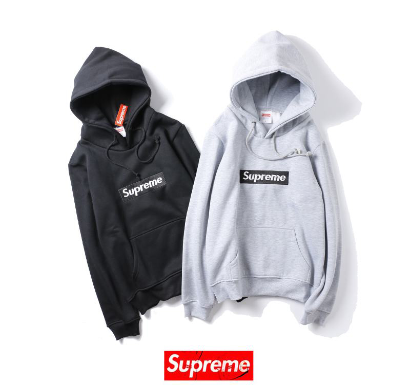 supreme 2 colors black grey hoodie box logo
