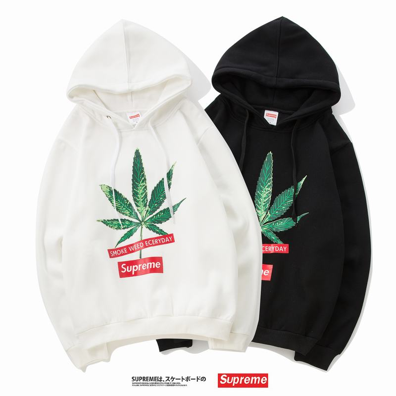 supreme 2 colors white black leaf print hoodie box logo