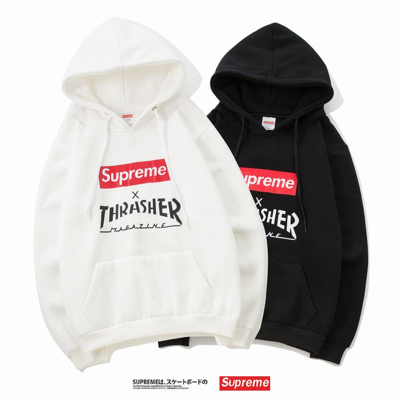 supreme x Thrasher union 3 colors white black grey hoodie box logo