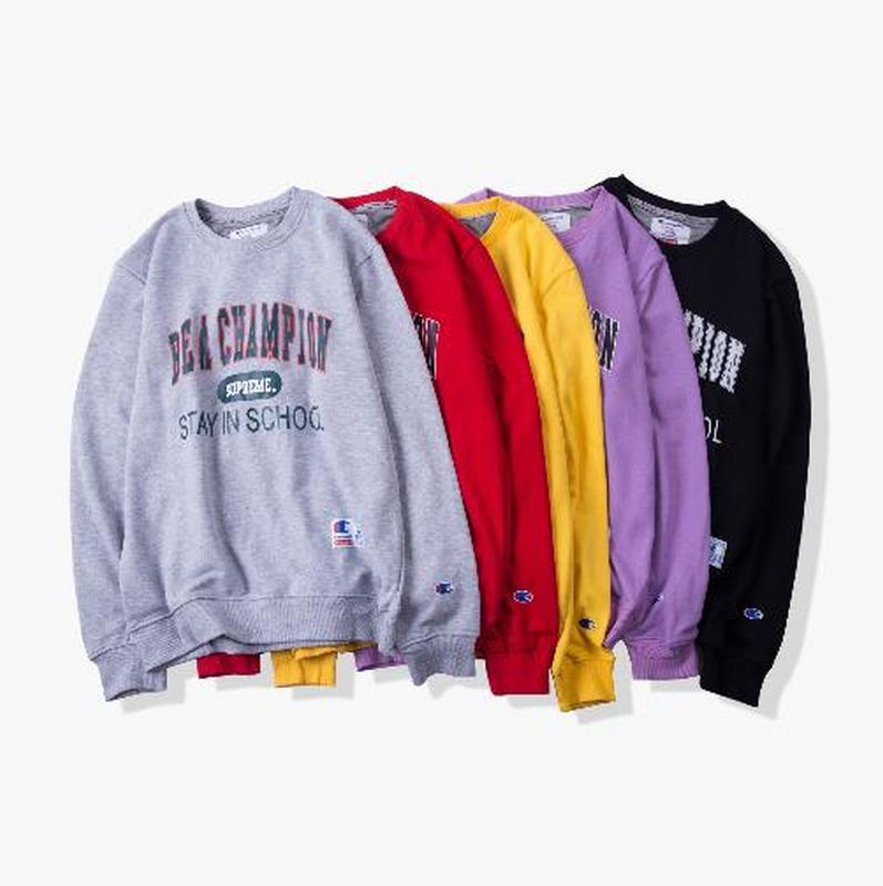 Champion X supreme union 5 colors black purple yellow red grey retro long sleeve print logo