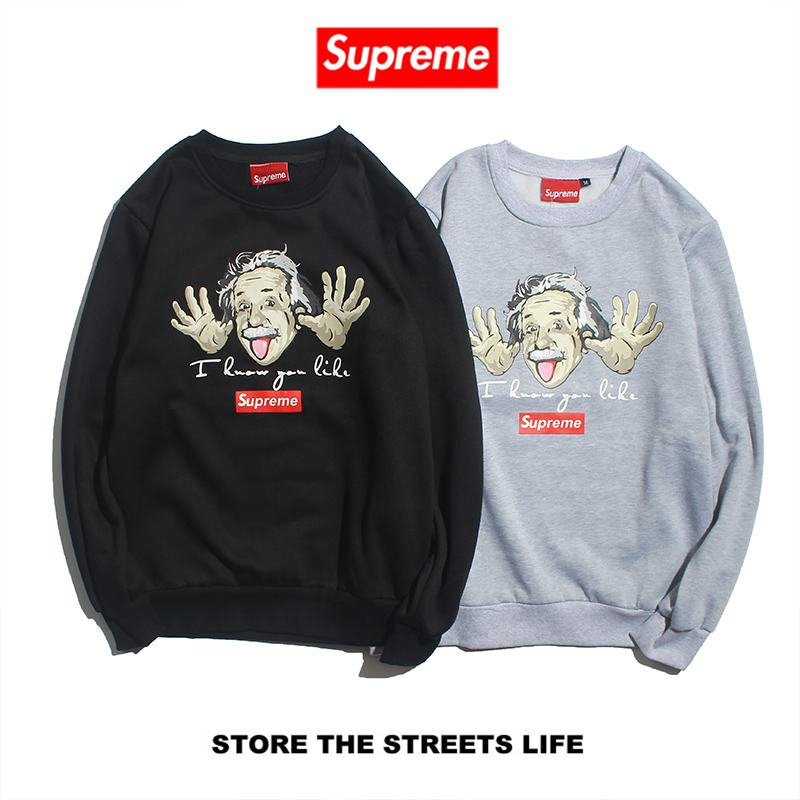 supreme 2 colors black grey round collar long sleeve Einstein box logo