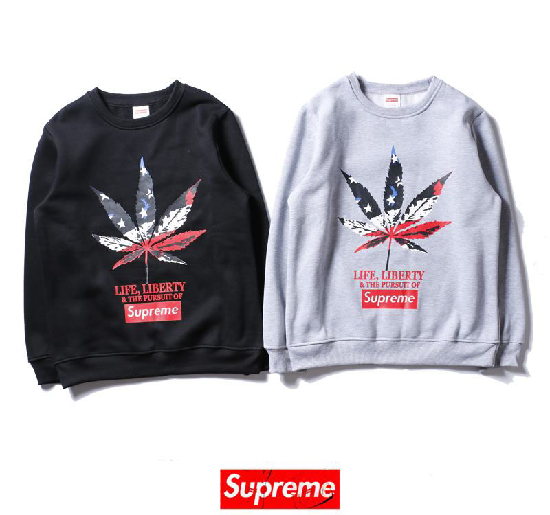 supreme 2 colors black white velvet long sleeve leaf print box logo