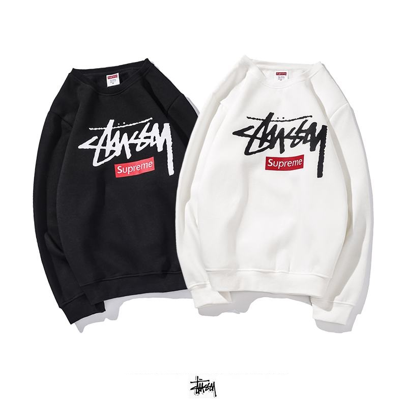 supreme x stussy union 2 colors black white long sleeve box logo