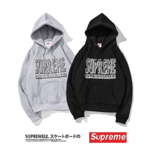 supreme 2 colors grey black print velvet hoodie
