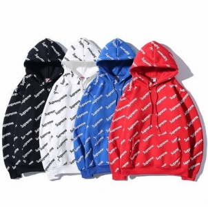 Supreme 4 colors black white blue red hoodie full print logo