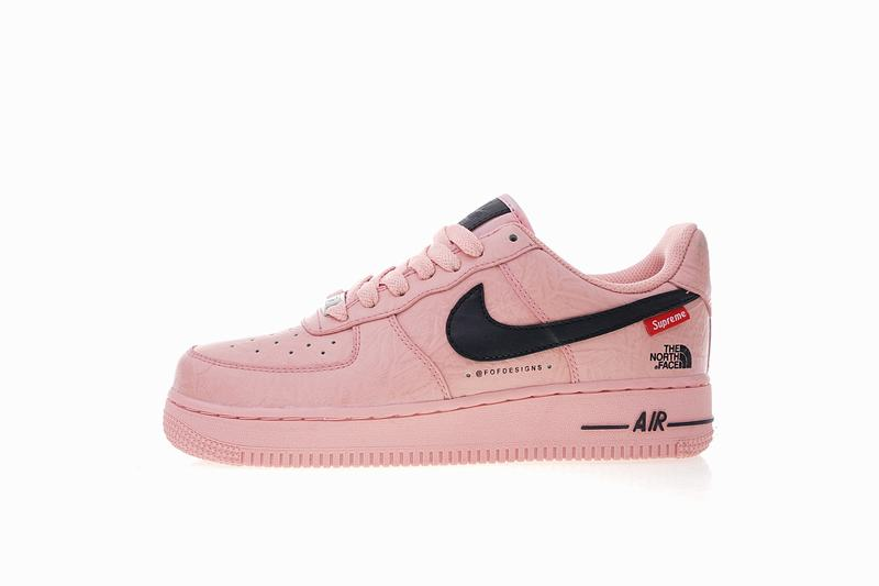 Supreme x The North Face x Nike Air Force one pink AR3066-800