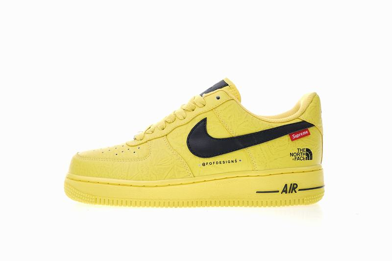 Supreme x The North Face x Nike Air Force one yellow AR3066-400